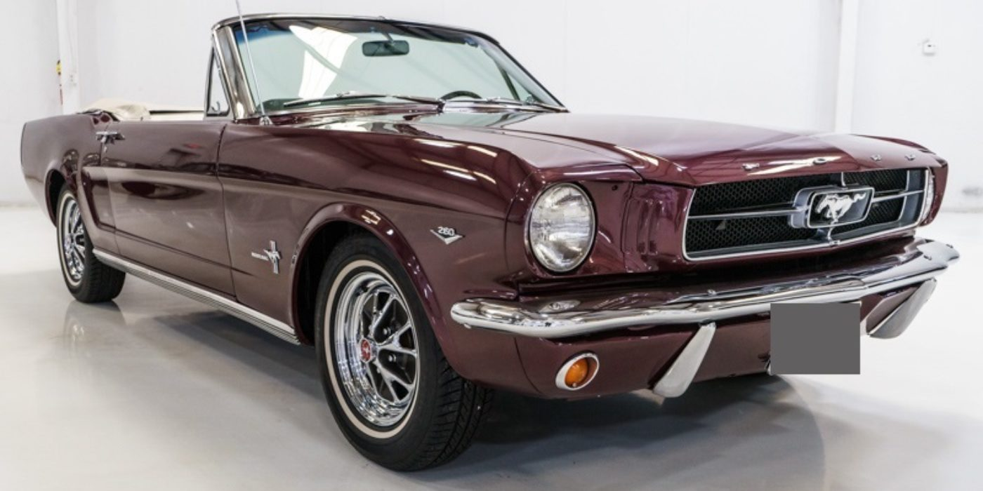 1965 Ford Mustang cabriolet 260 ci V8 Code F Burgundy Boite Automatique